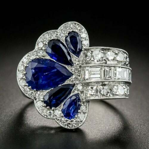 Antique Edwardian Victorian Sapphire Wedding Ring 4.2 Ct Sapphire 14K Gold Over