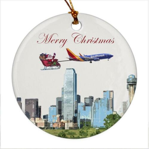 Southwest Airlines Aircraft over Dallas - Christmas Ornament