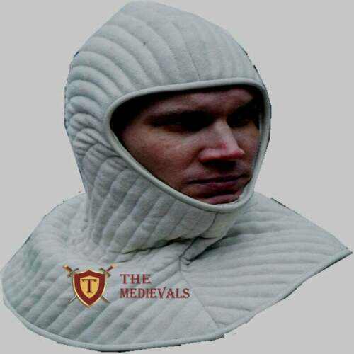 Medieval Padded Cotton White Red Hood Medieval SCA LARP