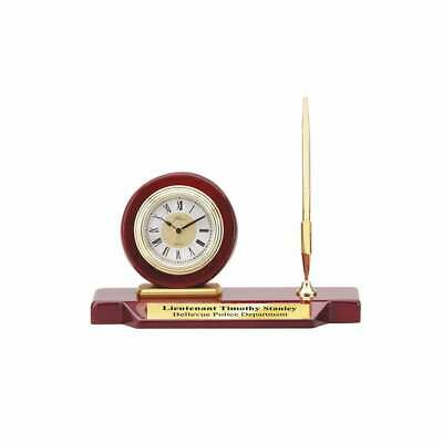 Desk Executive Clock Single Pen Set Cherry Wood Base Personalized Award Gifts