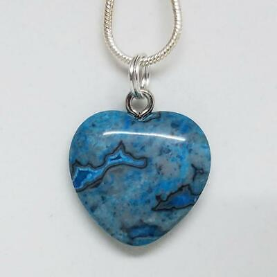 Blue Crazy Lace Agate Small Heart Necklace, Crystal Heart Pendant Necklace 18