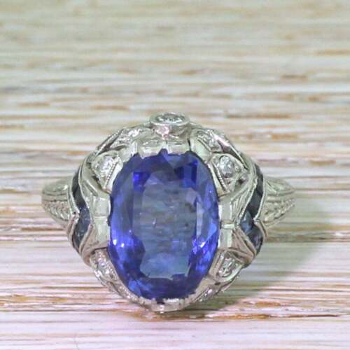 925 Solid Silver Art Deco 5.09 Carat Ceylon Sapphire & White CZ Solitaire Ring