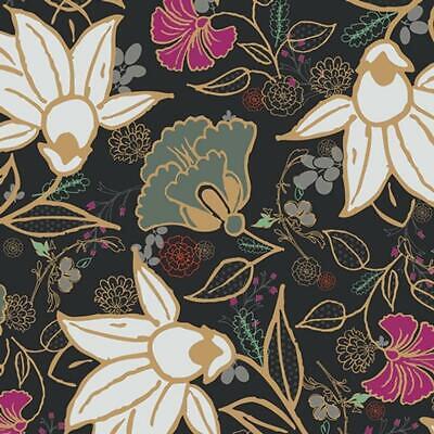Gold Fusion (Art Gallery Jersey Fusion Spices Blumen schwarz gold)