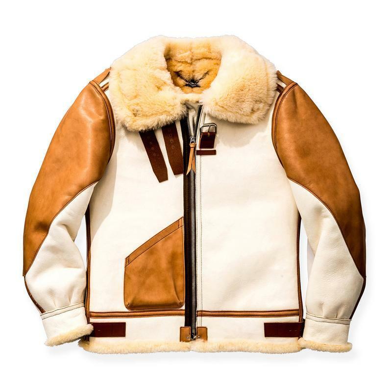 Mens B3 RAF Aviator Real Shearling White Sheepskin Leather F