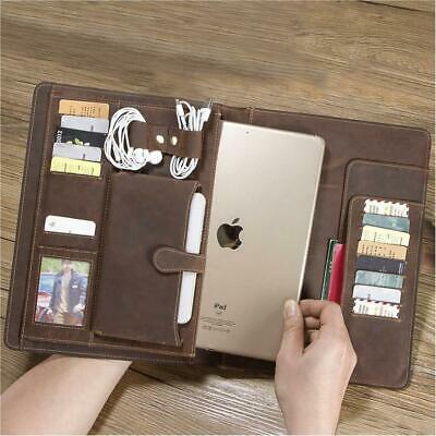 Genuine Leather Business Padfolio Portfolio Organizer Ipad Case Resume Folder