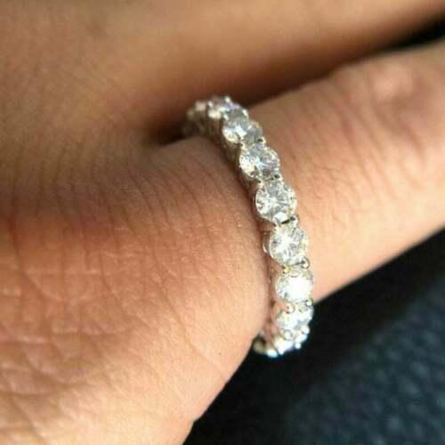 14k White Gold Full Eternity Classic Engagement & Wedding Band 2.25 Ct Diamond