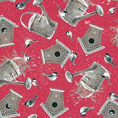 Garden Quilting Fabric - Quilting Treasures, Winter Garden Cotton Fabric Birds, Birdhouses On Red ~Yard~