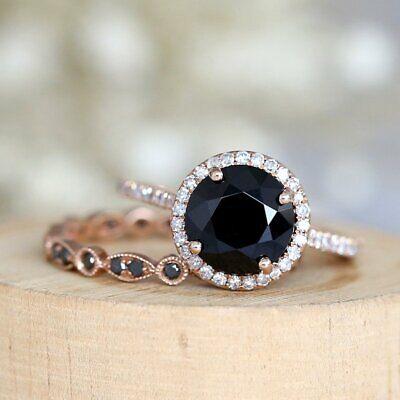 Black Diamond Gold Wedding Rings - 2.20Ct Round Cut Black Diamond Bridal Enagagement Ring In 14K Rose Gold Finish