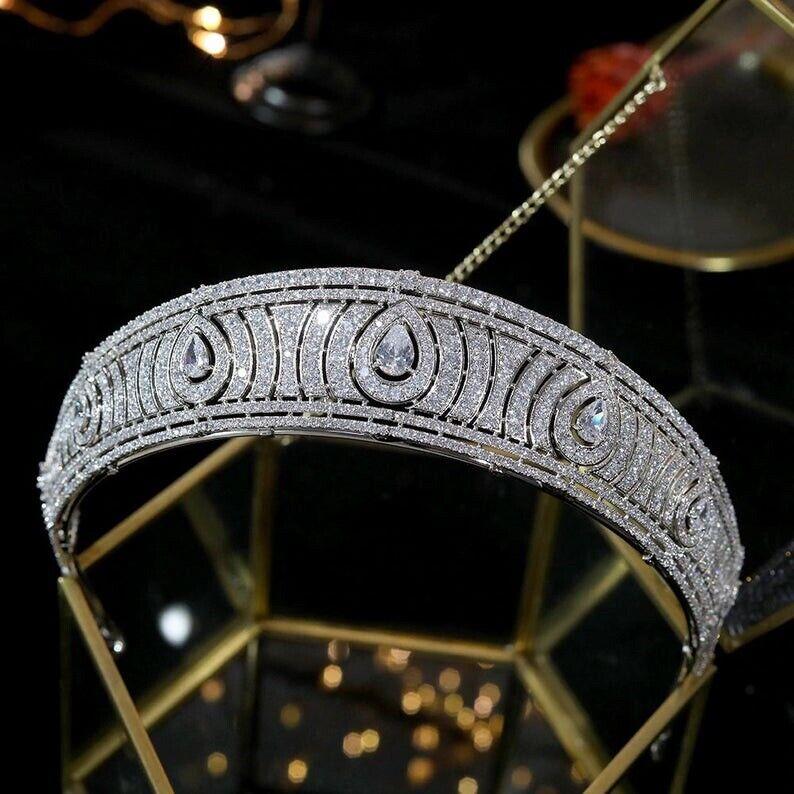 Baroque Luxury Royal Regal Wedding Bridal Tiara Set With AAA CZ Rhodium Plated