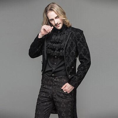 Devil Fashion MEN Jackets BLACK GOTHIC VINATGE PATTERN Coat Evening Party Jacket