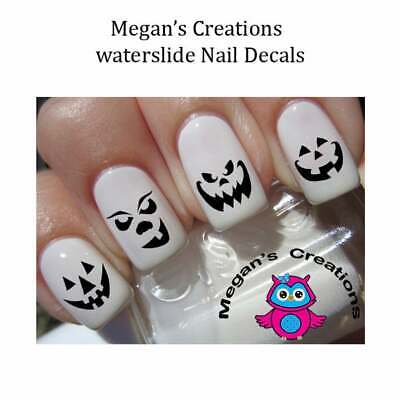 Halloween Pumpkin Faces Black Nail Art Decals
