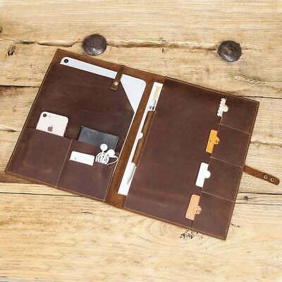 Genuine Leather Business Padfolio Portfolio Organizer Resume Folder Ipad Case