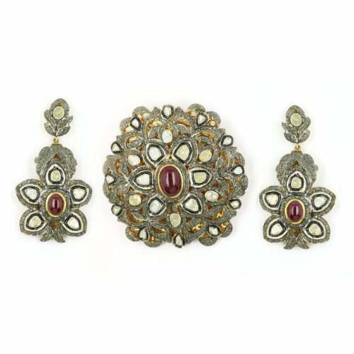 Natural Diamond Ruby Polki 925 Solid Silver Earrings Pendant Set Jewelry