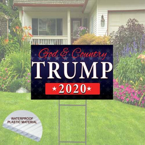 Trump - God & Country 2020 Yard Sign - Includes Stake