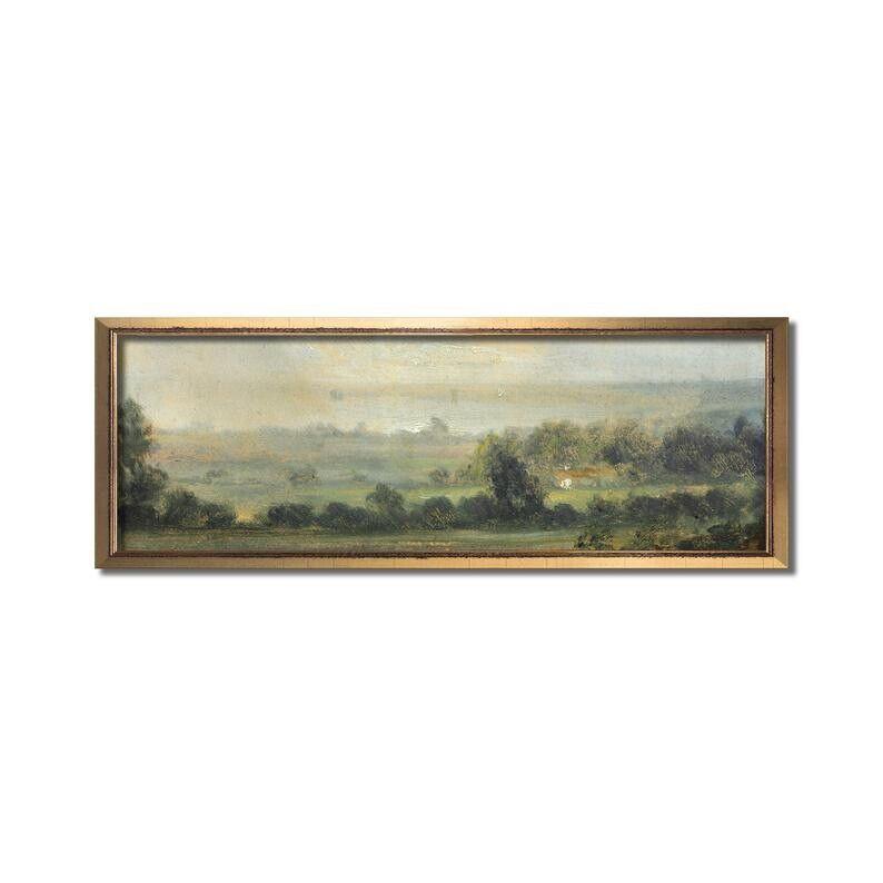 Vintage Oil Landscape Wall Art, Panoramic Art, Calm Valley, Landscape Print