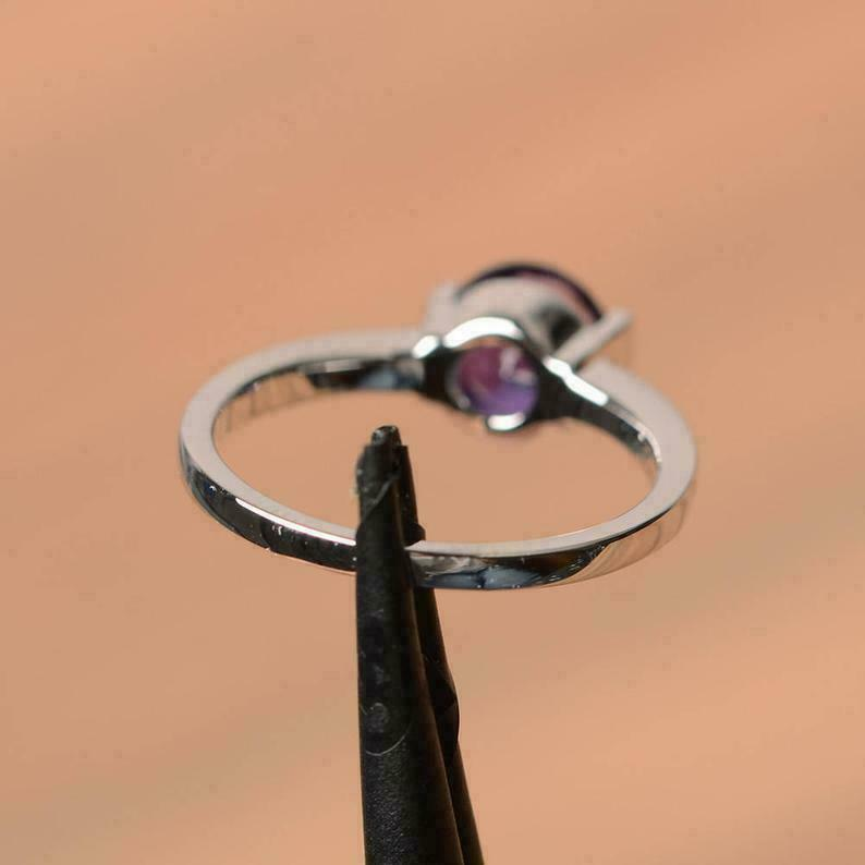 2 CT Round Cut Purple Amethyst Solitaire Engagement Ring 14K White Gold Finish - $102.43