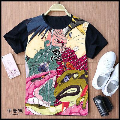 Cosplay Naruto Sasuke Anime Manga T-Shirt Kostüme Schwarz Polyester Neu