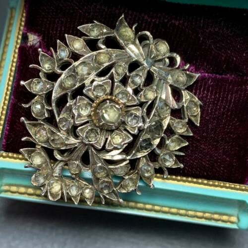 Antique Srilankan Silver Gold Jargoon Matara Diamond Pin Brooch