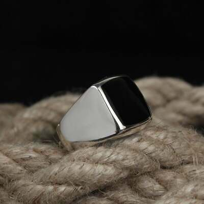 Daily Wear Ring Jewelry US Ring Size 6.5 Black Agate 925 Sterling Silver Ring Jewelry Beautiful Gift Ring For Women