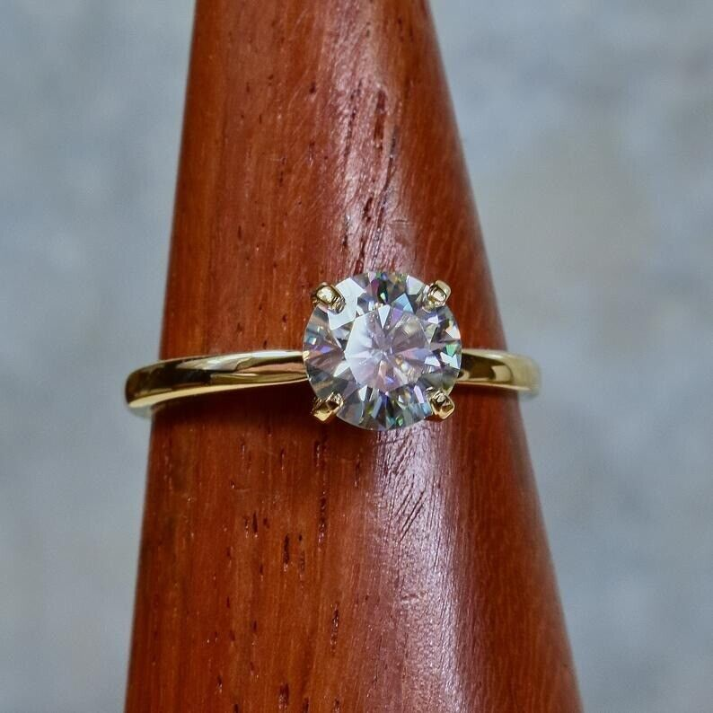 1.5Ct Round cut Diamond 14K Yellow Gold Over Engagement Vintage Women's Ring 6
