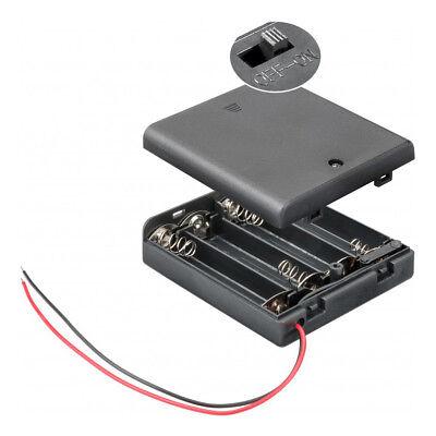 Batteriehalter für 4x Mignon AA Akkuhalter Batteriefach mit Schalter Ein Aus Batterie Halter