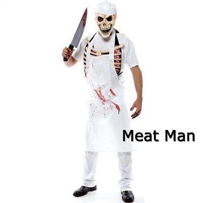 New Zombie Skeleton MEAT MAN Butcher Halloween Mens Adult Costume ONE SIZE - Butcher Halloween Costume