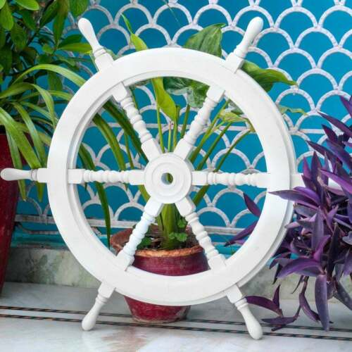 "36"" Nautical Wooden Wheel White Handcrafted Wooden Ship Wheel"