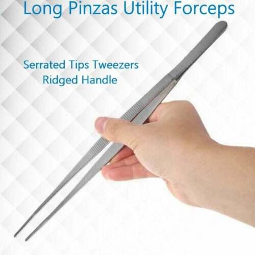Tweezers Blunt Serrated Tips Long Pinzas Utility Forceps Repair Workshop Pliers