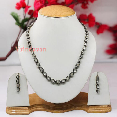 """Natural Rosecut Diamond Polki 925 Solid Silver Vintage 18"""" Necklace Jewelry"""