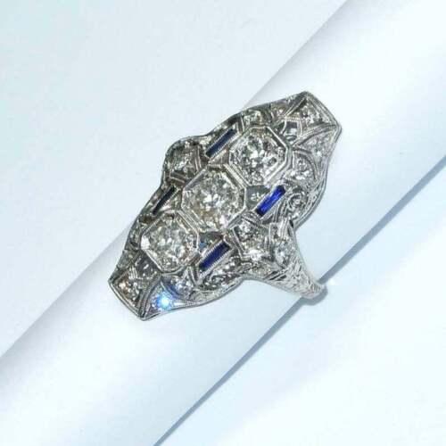 Antique Estate 1.19CT Old Mine Cut CZ & Blue Sapphire Filigree Long Finger Ring
