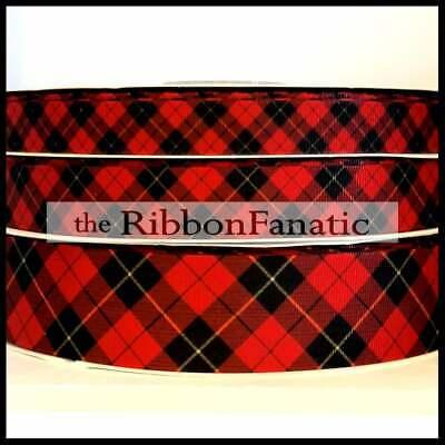 Plaid Christmas Ribbon (3yds Red Black Tartan Plaid Christmas 5/8