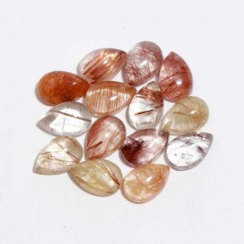 Wholesale Lot 100% Natural Copper Rutile Quartz Cabochon Pear Shape Gemstone