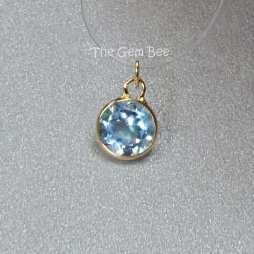 5MM 14k Solid Yellow Gold Blue Topaz Circle Bezel Charm pendant (1)