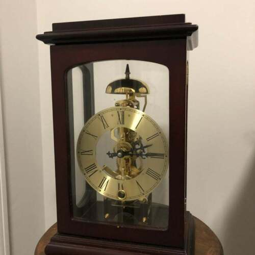 1920s Gold Skeleton Mantle Clock with Key
