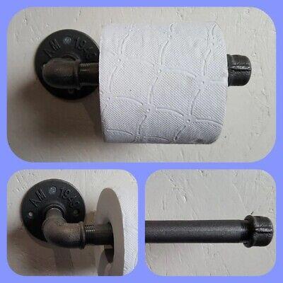 1 Temperguss Toilettenpapierhalter Industrielook Modern Stahlrohr Design Schwarz