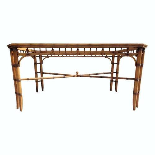 Vintage Faux Bamboo Fretwork Dining Table Glass Insert X Stretcher Palm Beach