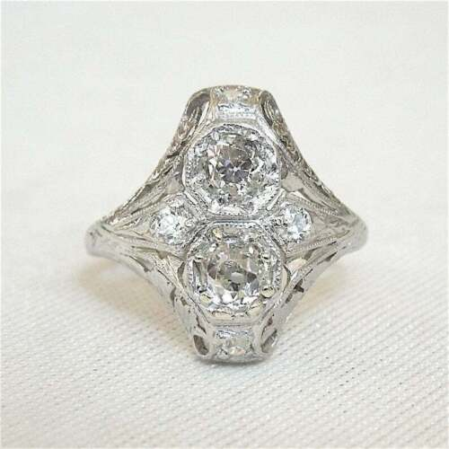 Solid 925 Silver Two Stone Navette Art Deco 1.2CT Cubic Zirconia Engagement Ring