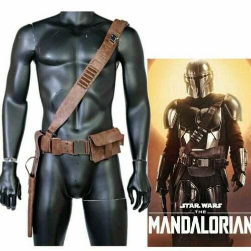 The Mandalorian Leather Belt Leg Pack Gun Package Mens Cosplay Costume Prop