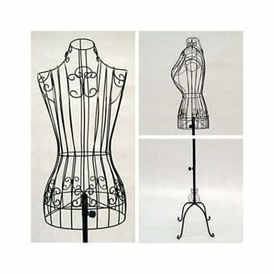 Female Adult Metal Wire Black Dress Form With Vintage Adjustable Antique Base