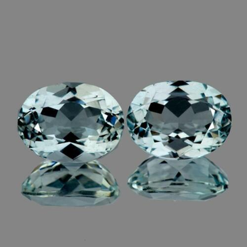 Blue Aquamarine Oval 7x5 mm 2 pieces, Flawless-VVS, Natural Loose Gemstone