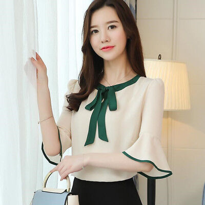 New Fashion Bows Chiffon Shirt Summer Bell Short Sleeve Korean Women Blouse Top](Chiffon Bows)