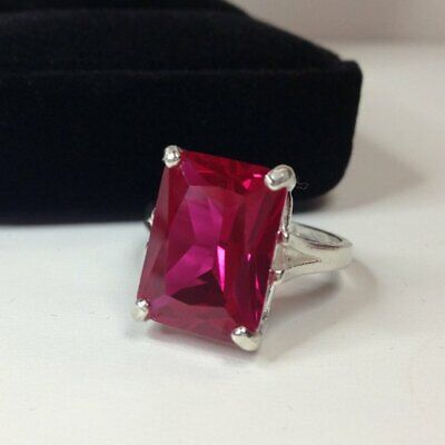 925 Solid Silver Natural  Certified 10.00 Carat Ruby Gemstone Engagement  Ring