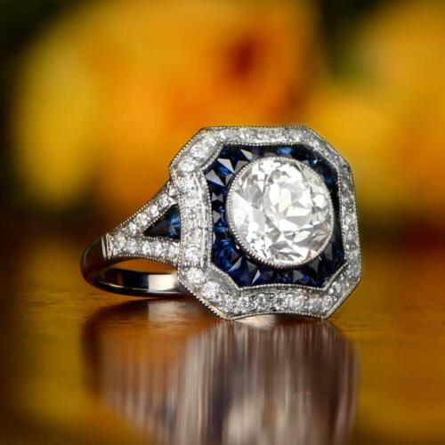 Estate Clear 1.79 Carat Old European CZ With Sapphire Accents Art Deco Fine Ring