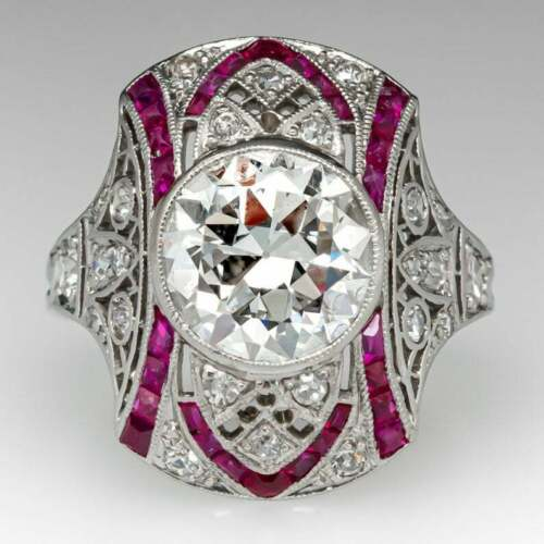 Gorgeous Art Deco Design Transitional Cut Cubic Zirconia & Pink Ruby Womens Ring