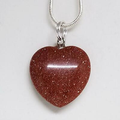 Red Goldstone Small Heart Necklace, Crystal Heart Pendant Necklace (Goldstone Heart Necklace)