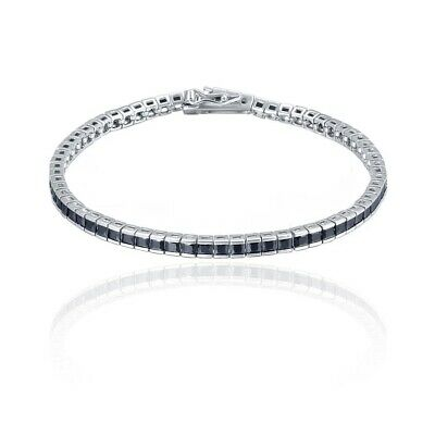 - 14k White Gold Over Princess Cut Black Diamond Tennis Bracelets For Men & Women