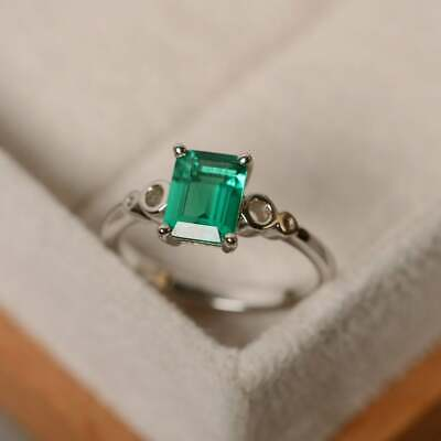 925 Sterling Silver Natural Certified 7 Ct Emerald Gem Handmade Solitaire Ring