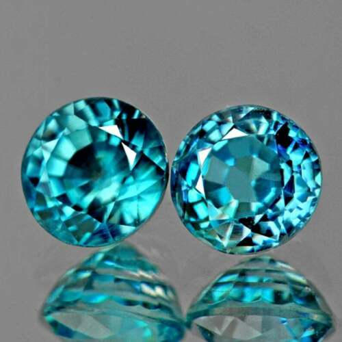 Blue Zircon Round 5.50 mm 2 pieces , Flawless-VVS , Natural Loose Gemstone