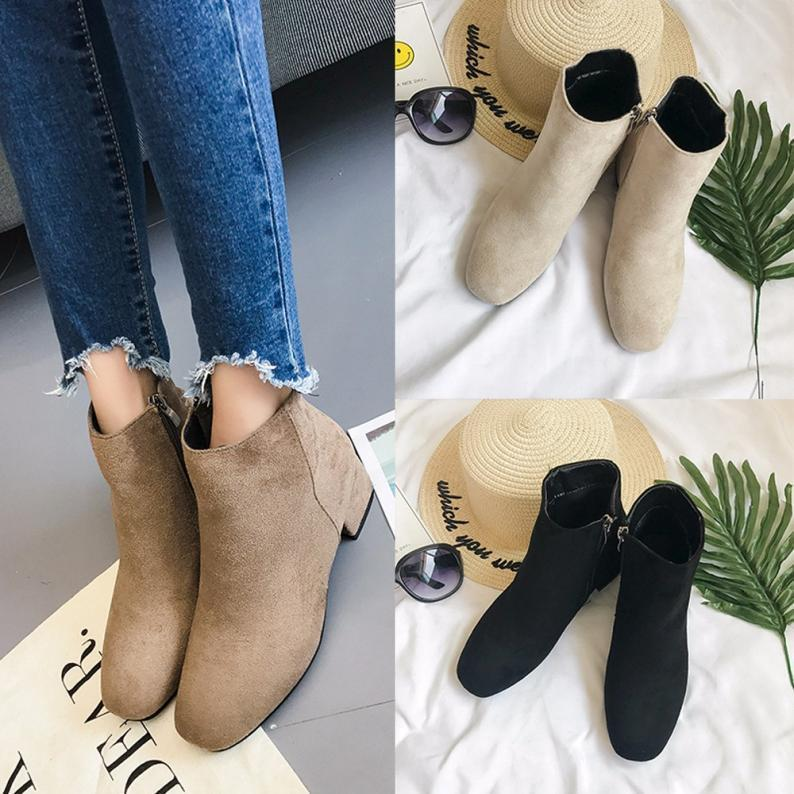 Women Mid Heel Flock Ankle Zipper Platform Shoes Slope Martin Square Heel Boots