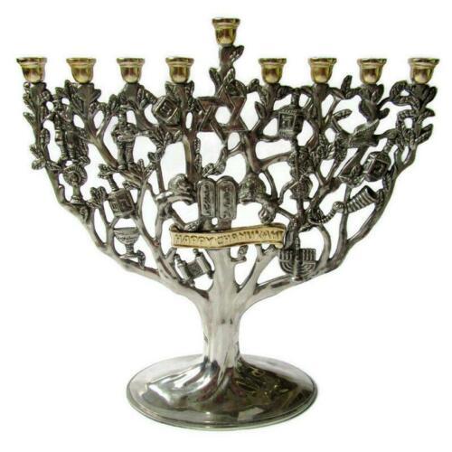 Menorah; Chanukkiah, Hanukkah, Hanukkiah, Judaica, Judaism, Silver Plate Menorah